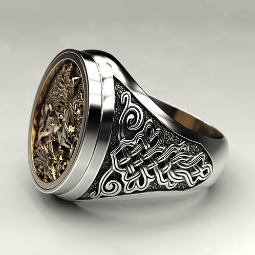 Punk Cool Male Finger Ring Two-Color Gold Metal Roman Soldier Malone Ring