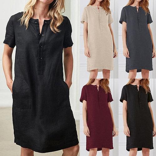 Solid Color and Linen Dress Women Vintage Knee Dress Plus Size Dresses 2021 ★