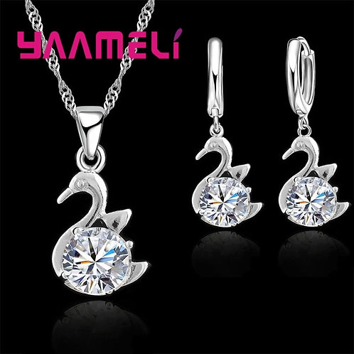 Fine 925 Sterling Silver Crystal Swan Shaped Necklace Drop Earring Sets Gift