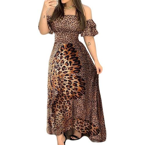 Dress for Women Off Ruffled Sleeve Sexy High Waist Ladies Maxi Dress Summer 2020