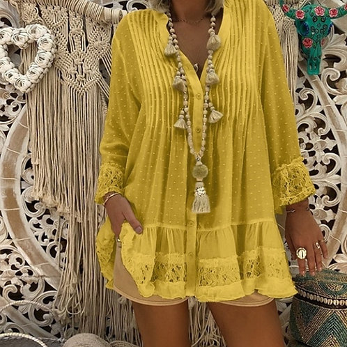 Plus Size Lace Hollow Out Shirts Casual v Neck Long   Baggy Autumn and Blouses