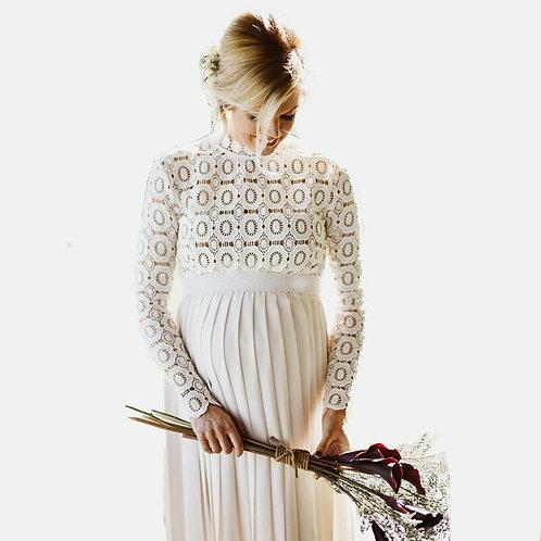 Maternity Shoot Dress Pleated Dresses Side Maxi Gown  Women XL