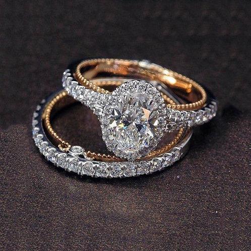 Women's 925 Silver Plated 14 K Rose Gold Diamond Egg-Shaped Ring Set