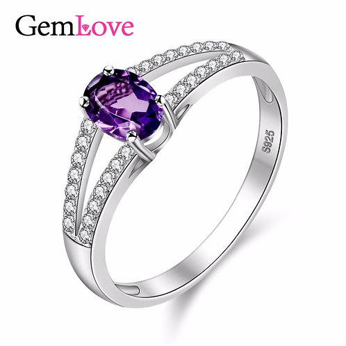 925 Sterling Silver Natural Stones Diamond Jewelry Wedding Rings With Box CJ037