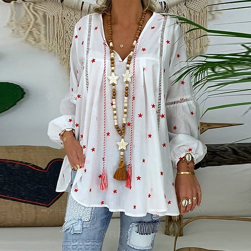 New  Blouse for Women Casual  Long Sleeve Out Female Printed Blouse Shirt