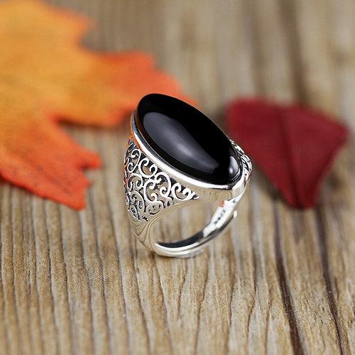 S925 Sterling Silver Handmade Women's Elegant Hollow  Agate Vintage Open Ring