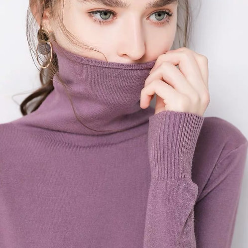 Turtleneck Pullovers Sweaters Female Winter  Slim-Fit Pull Sweater Womens
