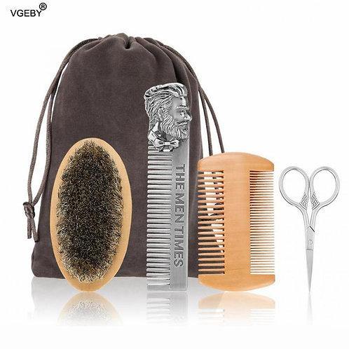 Beard Brush Set Double-Repair Modeling Cleaning Care Kit for Men Wood Beard Kit