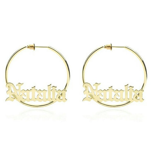 Old English Name Hoop A-Z Letters Custom Name Big Fashion Jewelry Bijoux Femme