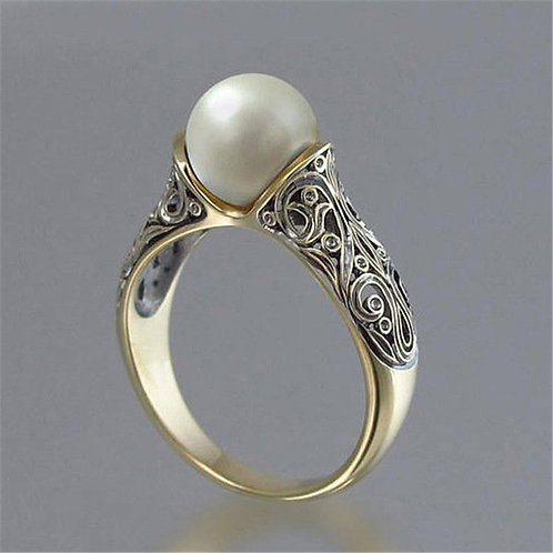 Women's Artificial Pearl 14 K Gold Plated Vintage Silver Ring
