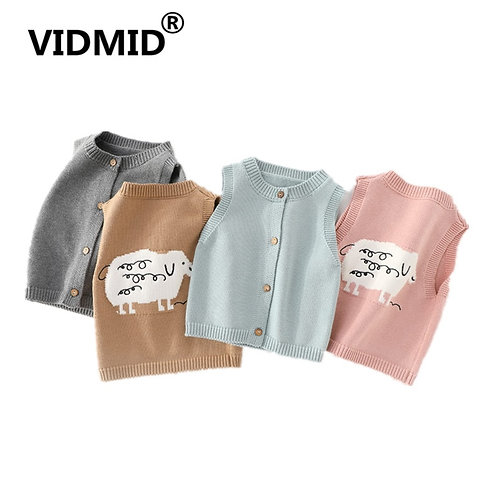 Vest Sweaters New Sleeveless Clothes V-Neck Cotton Solid Color Sweaters