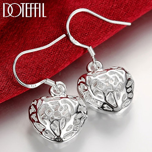 925 Sterling Silver Hollow Heart Ball Drop for Party Fashion Charm Jewelry
