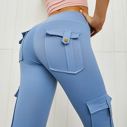 Solid Women Pants High Wasit Push Up With Pocket Trousers Casual Cargo Pants