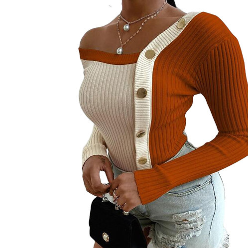 Women Fashion Elegant Knitted Tops Long Sleeve Cold Shoulder Sexy Casual Slim