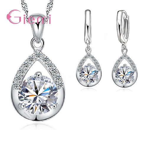 925 Sterling Silver Bridal Jewelry Set Necklace Water Drop Austrian Crystal
