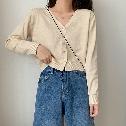 Vintage Stylish Solid Color Knitted v Neck Long Sleeve Loose-Fitting  Sweater