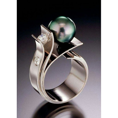 Fashion 925 Sterling Silver White Sapphire Green Pearl Ring