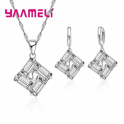 925 Sterling Silver Sparkling Zircons Necklace+Earrings 2pcs/Set