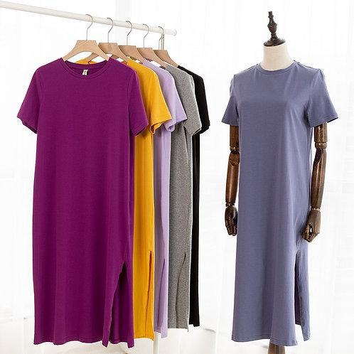 Women Split Long Dress O-Neck Short Sleeve Solid Blue T Shirt Dress Sales M30465