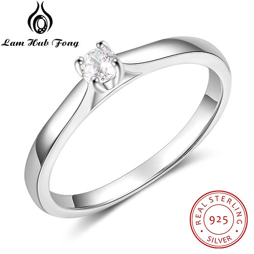 925 Sterling Silver Ring Simple CZ Finger Ring for Women 925 Silver Wedding