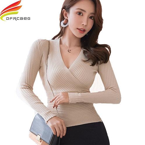 Women's Pullover Casual Slim Female Elastic Cotton Long Sleeve Tops Femme