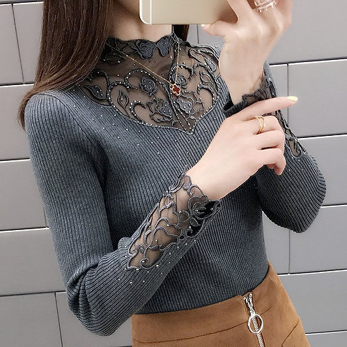Women's Knitwear Fashion Outdoor Lace Collar Bottoming Shirt Long-Sleeved Top