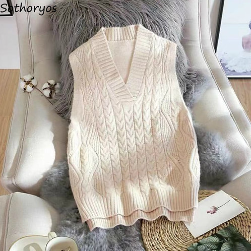 Sweater Vest Women V-Neck Solid Ribbed Autumn All-Match  Style Fashion Ladies