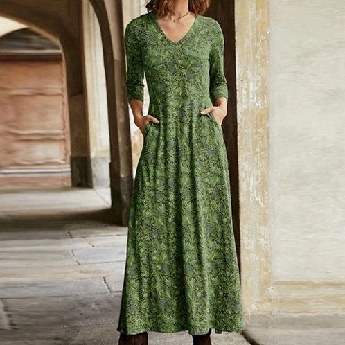 Elegant Floral Print Split v Neck Long Sleeve Party Dress