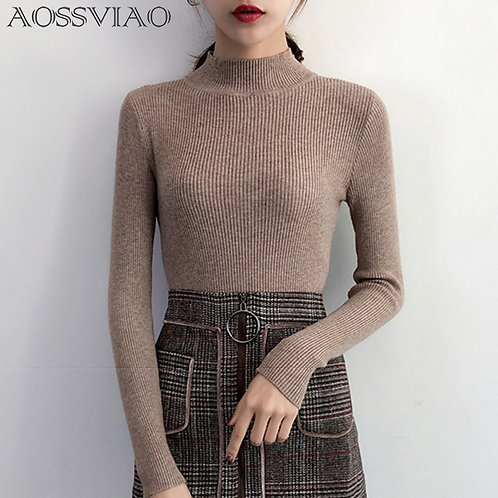 2021 Autumn Winter Women Pullovers Sweater Knitted Elasticity Casual Jumper