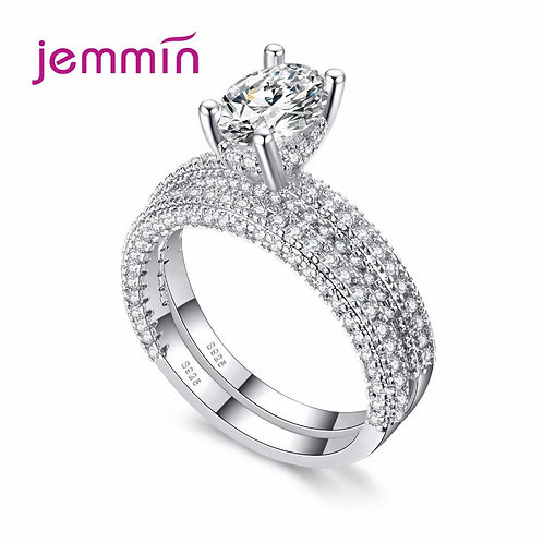 925 Sterling Silver Wedding Ring Sets 2PCS Sparkling Zircon