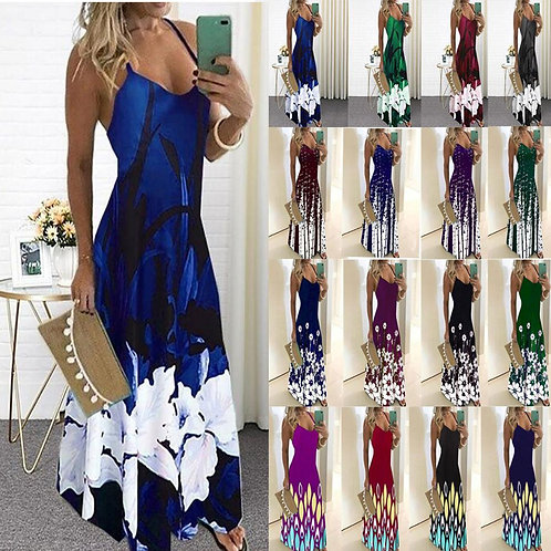 Lossky Vintage  Print Dress Sexy Strap v Dresses Party Tunic Plus Size 5XL