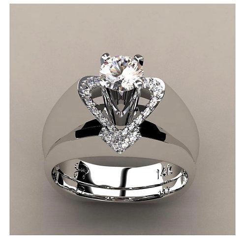 Women's Heart Shaped 925 Silver Simulation Diamond Ring Set