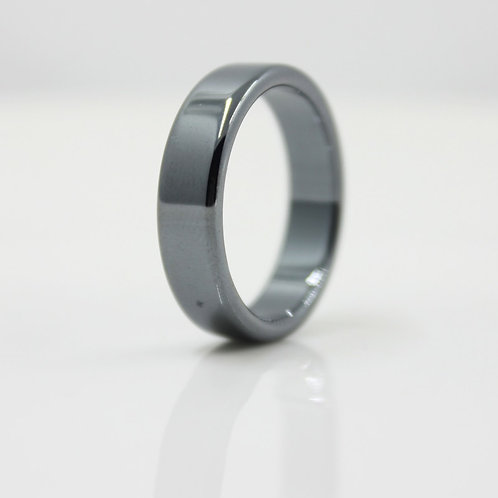AAA Quality Smooth 6 Mm Width Flat Hematite Rings