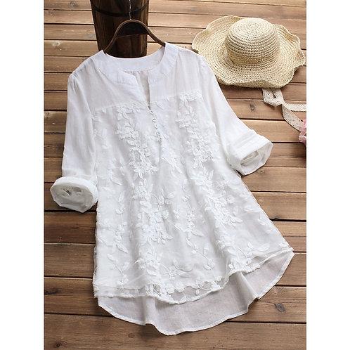 Women's White Blouse Plus Size Tops Elegant  Sleeve Floral Print Women's Shirt