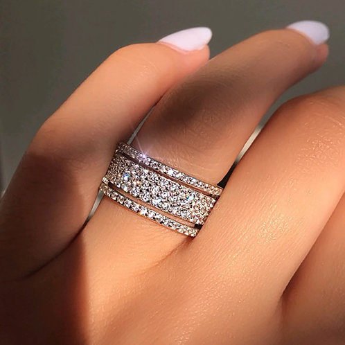 Silver Color Rhinestone Crystal Ring Wide Love Rings for Women