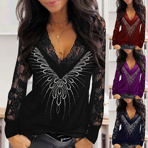 2021 Ladies Top Long Sleeve Blouse and  Lace Sequins V-Neck Long Elegant