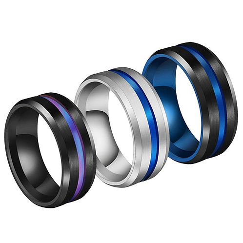 Ring Wedding Titanium Jewelry 8MM for Men Rainbow Groove Rings Stainless Steel