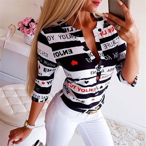 Button Printing Blouses Tops Woman Summer v Neck Long New Tops Plus Size