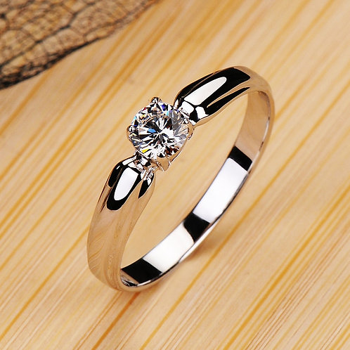 Ring Real 925 Sterling Silver Engagement Ring Crystal Wedding Rings for Women