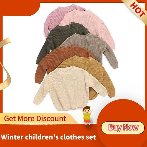 Crewneck Thick Kids Slouchy Soft Wool Girls Autumn Winter Sweaters Hooded Top