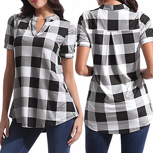 Women's Shirts Casual Plaid Short Sleeve V-Neck Hem Tops