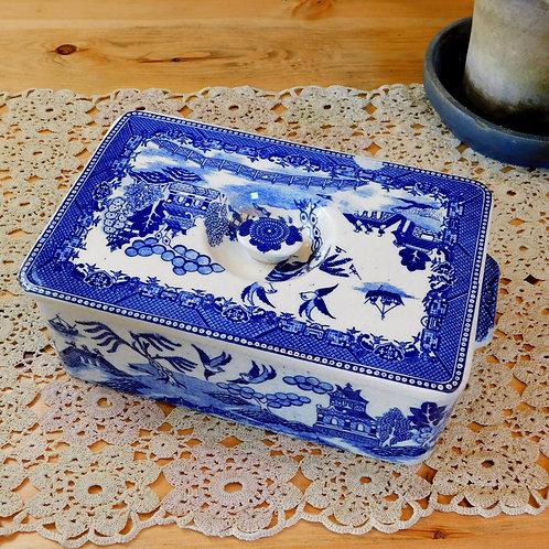 1940's Blue Bird Lidded Dish