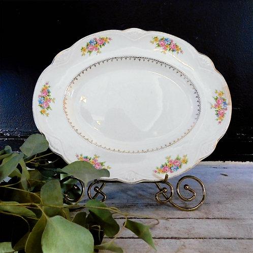 Antique 1940's Floral Serving Plate