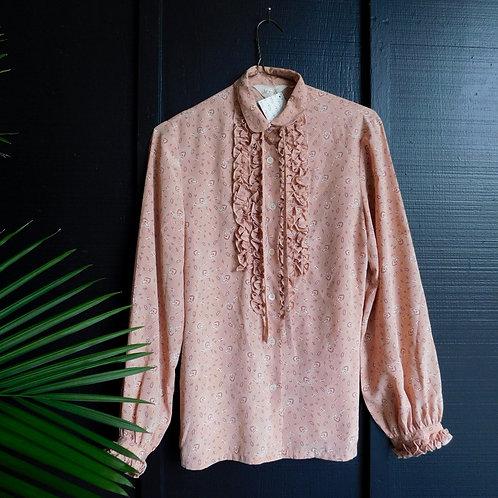 Ruffled Pink Paisley Blouse