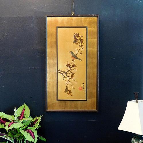 Mid Century Gold Leaf Oiseau Art