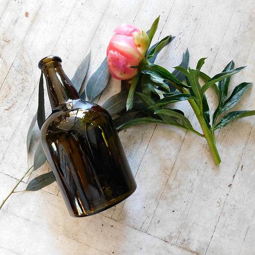 Short Antique Amber Bottle Vase