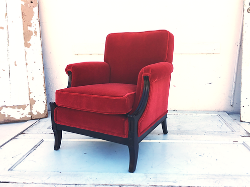 Ruby Red Upholstered Chair and Ottoman