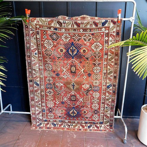 Antique Kazak Rug Rust