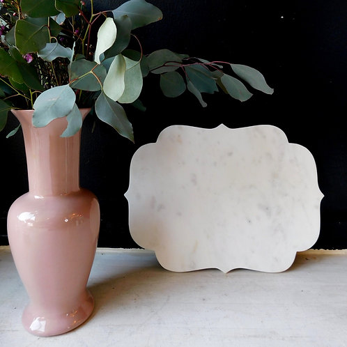 Scalloped Carrara Marble Platter
