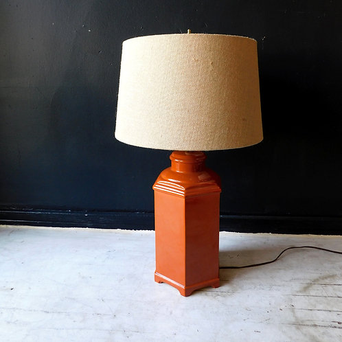 Vintage Ceramic Deep Rust Lamp